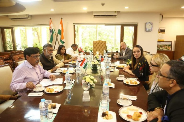 India - Russia Strategic Business Dialogue, New Delhi on 10th July 2019 , Prashant Chaudhary, MD Salvia Promoters Pvt Ltd with Ms Zarina Doguzova , Head of Rustourism  and Honourable Minister of Tourism if India Mr Prahlad Singh Patel